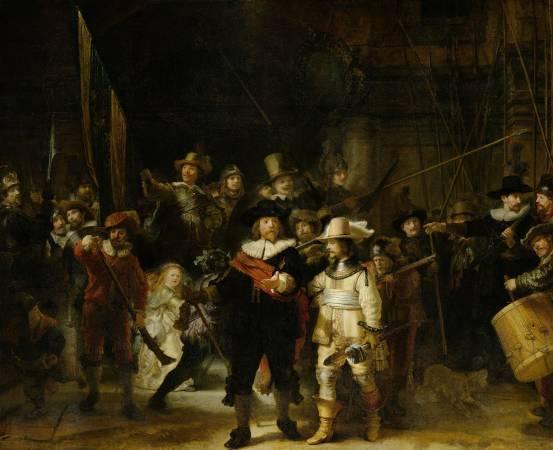 林布蘭,《夜巡》,1642。圖/取自Wikipedia。