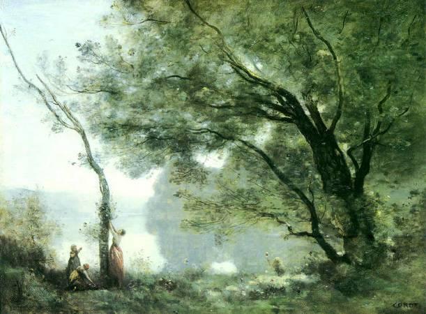 柯洛,《摩特楓丹的回憶》,1864。