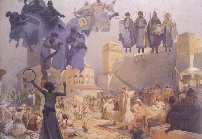 慕夏,《引介斯拉夫語的禮拜儀式》,1912。