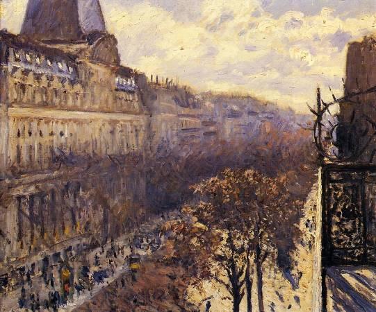 Gustave Caillebotte,《Boulevard des Italiens》,1880。