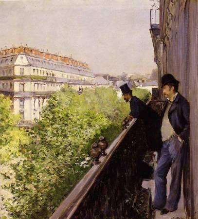 Gustave Caillebotte,《Un balcon》,1880。圖/取自Wikipedia