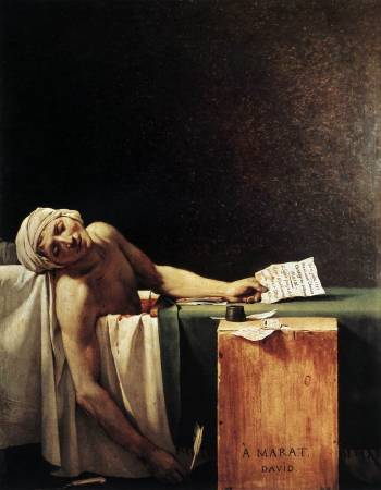 Jacques-Louis David,《The Death of Marat》,1793。