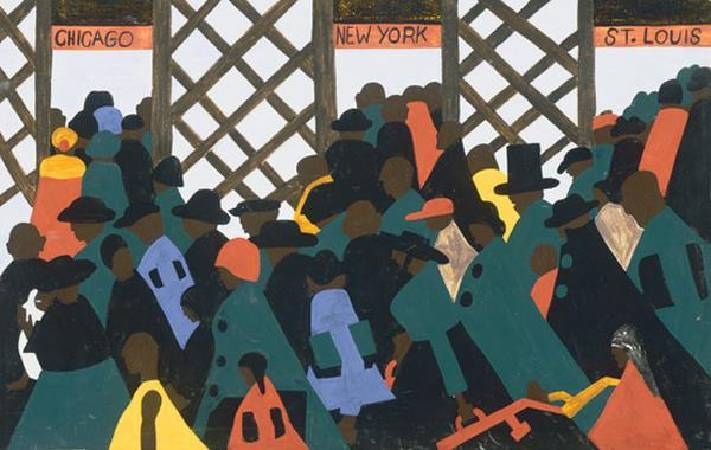 Jacob Lawrence,《The Migration of the Negro, Panel 1》,1941。