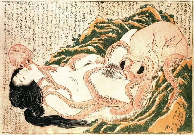 葛飾北齋,《章魚與海女》,1820。