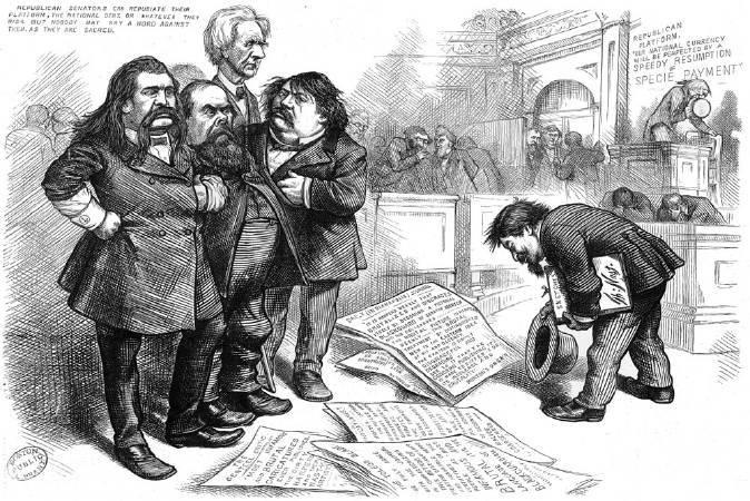 托馬斯•納斯特,《Thomas Nast asks pardon for his sketches》,1874。