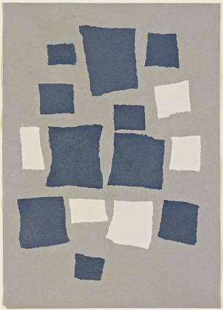 Jean Arp,《Collage with Squares Arranged According to the Laws of Chance》,1917。