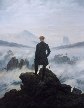 佛列德利赫,《霧海上的旅人》,1818。