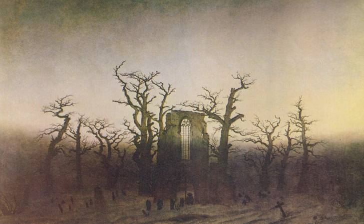 佛列德利赫,《橡樹下的寺院》,1809。