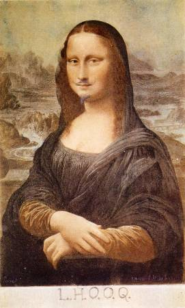 杜象,《留著鬍子的蒙娜麗莎》,1919年。