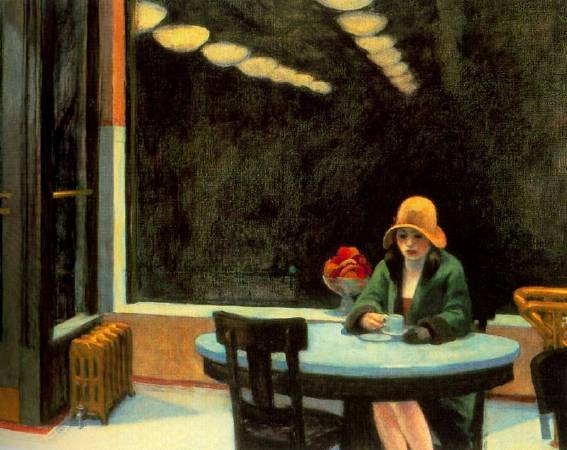 愛德華‧霍普,《自動販賣店》,1927。圖取自Edward Hopper.net