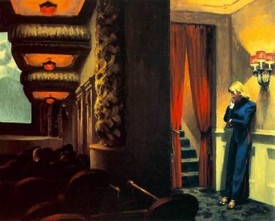 愛德華‧霍普,《紐約電影院》,1939。圖取自Edward Hopper.net