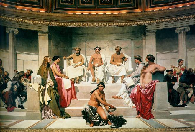Paul Delaroche,《Hémicycle》 (Central Section),1842。