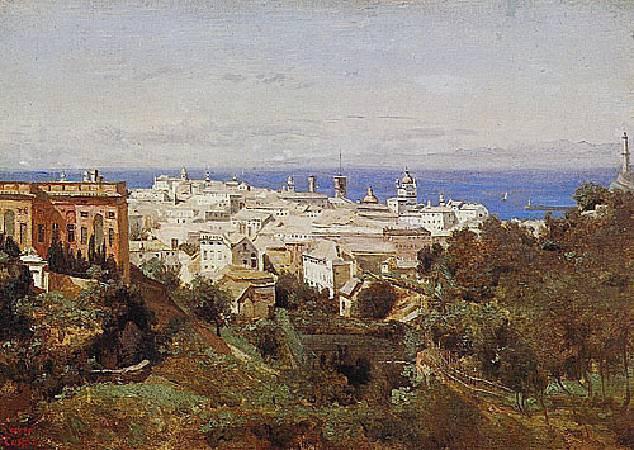 柯洛《熱那亞,阿卡索拉散步大道的眺望》,1834。