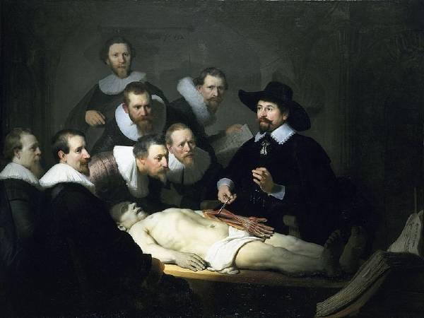 林布蘭,《尼古拉斯·杜爾博士的解剖學課》,1632。圖取自Wikipedia。