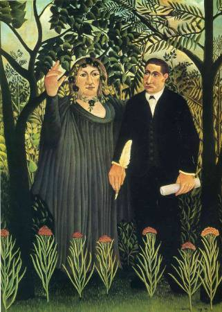 Henri Rousseau,《The Muse Inspiring the Poet》,1909。