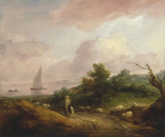 Thomas Gainsborough,《Coastal Landscape with a Shepherd and His Flock》,1783-84。