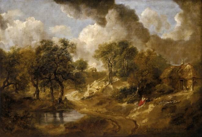 Thomas Gainsborough,《Landscape in Suffolk》,1746-50。