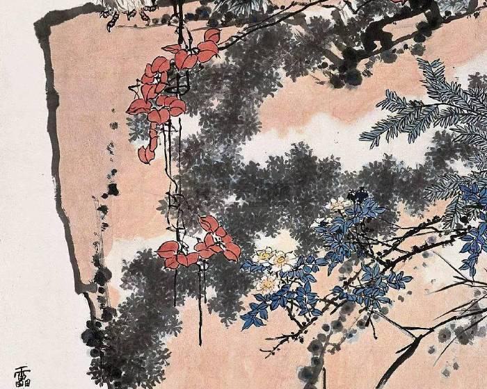 2015中國拍賣市場  潘天壽《鷹石山花圖》價格最高
