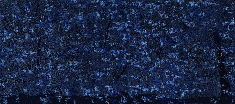 傅作新,漂泊的靈魂,89 x 197 cm x 5 panels 布面油彩 2015