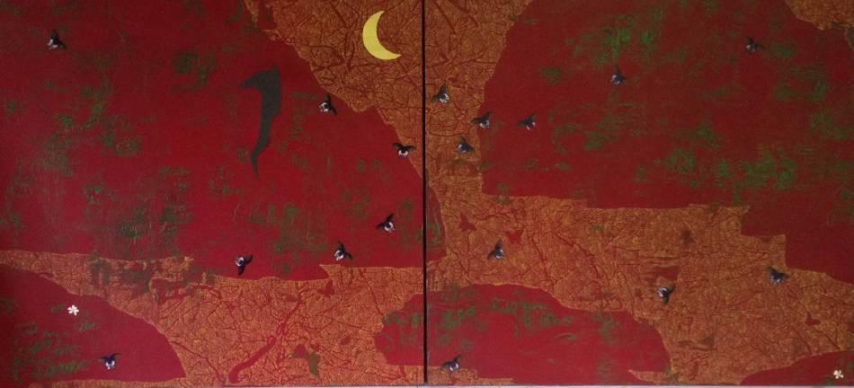 傅作新,蝴蝶的山谷 282x150 cm 布面油畫 2015