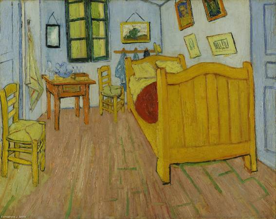 梵谷《在亞爾的臥室》,第一版本。圖/取自Wikipedia。