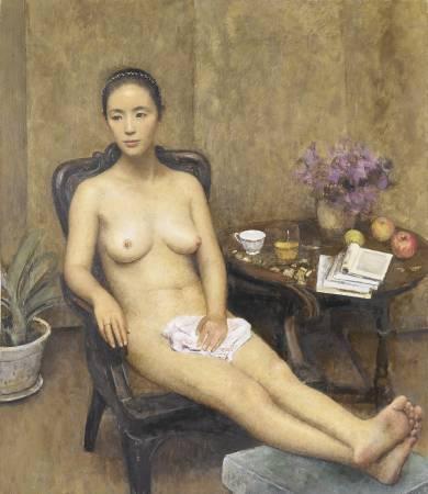 朱春林《憩》油彩 畫布 130x112.5cm 2015