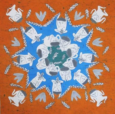 George Mary 系列-橘,黃昱佳,67.5x67.5cm,彩墨,2015