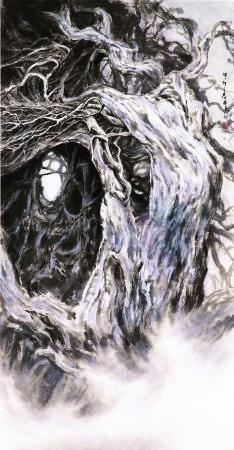 穿梭虛實系列II,趙品嘉,135x75cm,水墨紙本,2014
