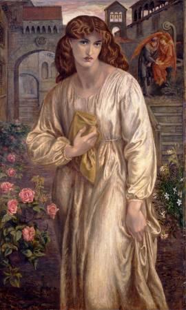 羅塞蒂《碧翠絲的問候》。圖/取自Wikimedia。