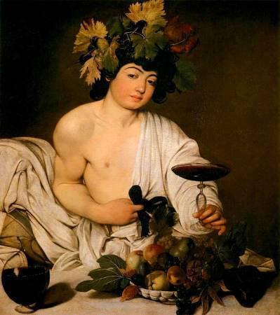 卡拉瓦喬,《年輕的酒神》,1595年。圖/取自Wikipedia。