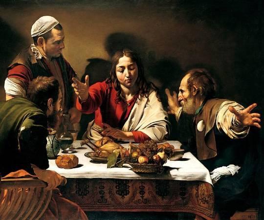 卡拉瓦喬,《在伊默斯的晚餐》,1601年。圖/取自Wikipedia。
