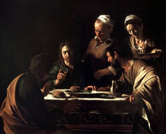 卡拉瓦喬,《在伊默斯的晚餐》,1606年。圖/取自Wikipedia。