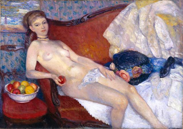 William Glackens,《Nude with Apple》,1910。圖/取自Wikiart。
