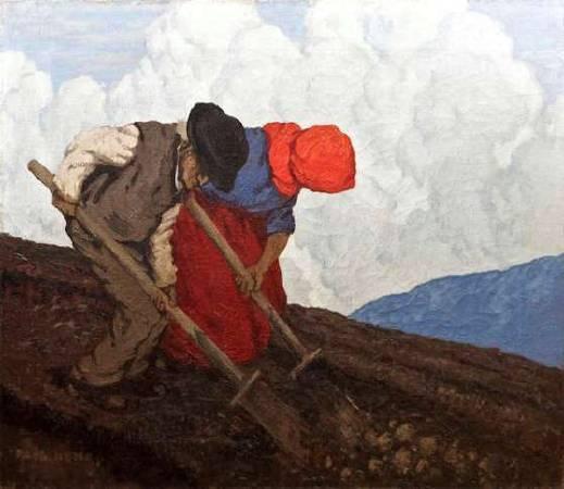 保羅‧亨利,《The potato diggers》,1910-1911。圖/取自Artnet。