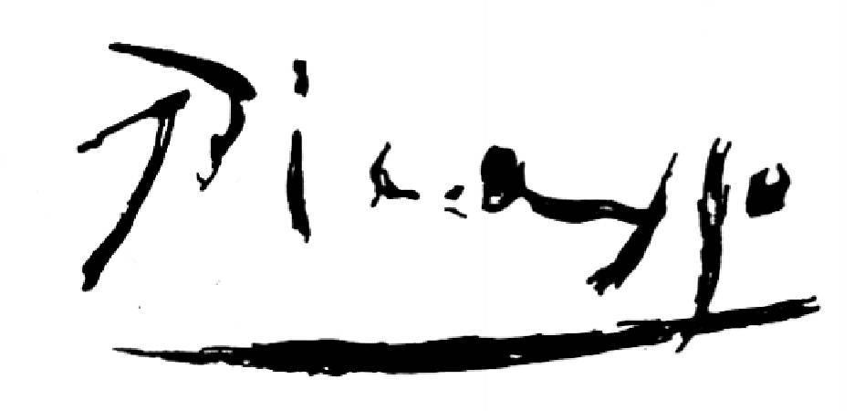 畢卡索的簽名。圖/取自Artnet。