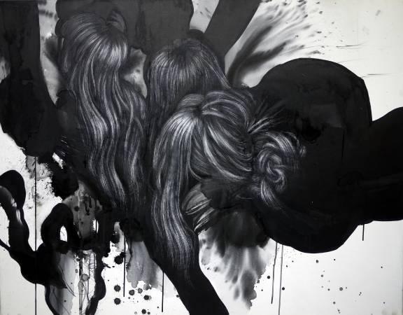 林雅涵,《絲密-感性與理性 V》,水墨畫布,116.5x91cm。
