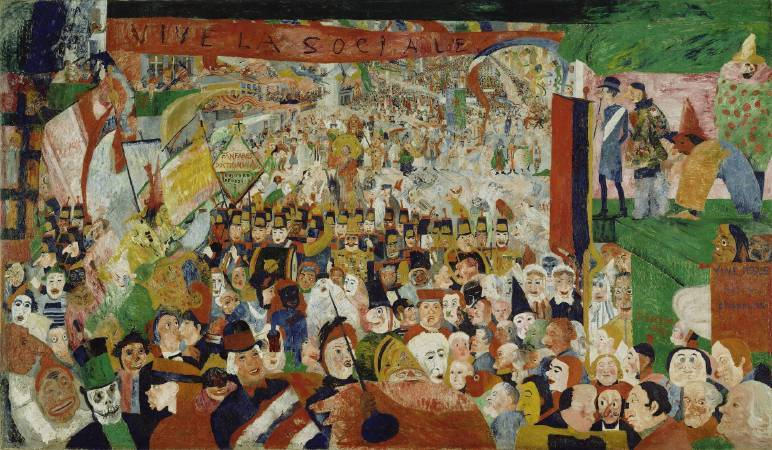 恩索爾,《1889年基督降臨布魯塞爾》,1888。圖/取自Wikiart。