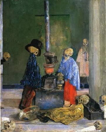恩索爾,《Skeletons Trying to Warm Themselves》,1889。圖/取自Wikiart。