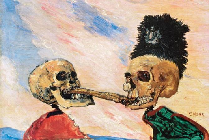 恩索爾,《 Skeletons Fighting Over a Pickled Herring》,1891。