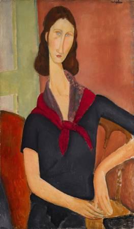莫迪里亞尼,《戴圍巾的珍妮•赫布特尼》,1919年。圖/取自Bloomberg。
