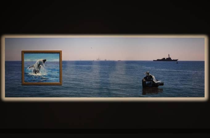 海景(2012)LA鐳射輸出、 鋁板裱褙、油畫 120×400cm