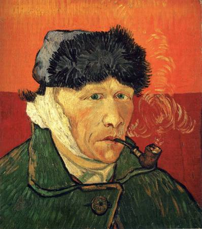 梵谷《Self-portrait with Pipe and Bandaged Ear》。圖/取自art-vangogh.com。