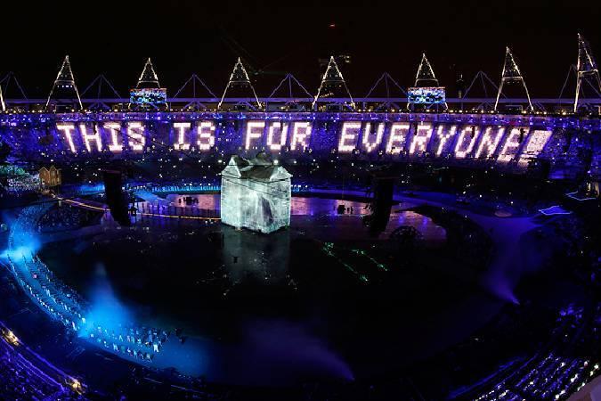 2012倫敦奧運投影藝術。圖/取自triplewidemedia。