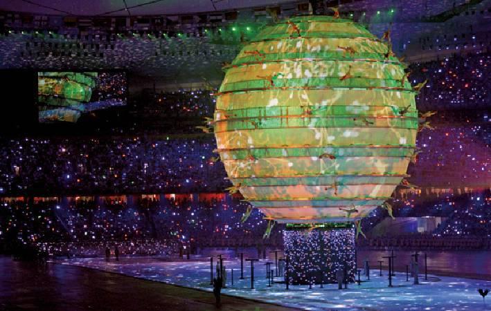 2008北京奧運投影藝術。圖/取自行政院體育委員會國民體育季刊。