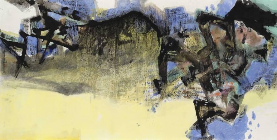 李重重《雲夢繞山河》2014 水墨設色、紙本 95×186cm