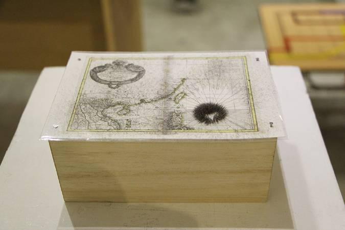 片岡純也與岩竹理恵作品局部,模擬尼伯特颱風。圖/非池中藝術網攝。