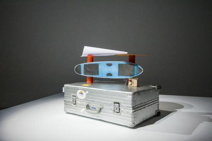 拉納的大衛.鮑伊唱盤裝置。圖/ 非池中藝術網攝。