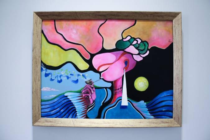 依法兒.瑪琳奇那《月亮,在山的那一頭》。圖/ 非池中藝術網 攝。