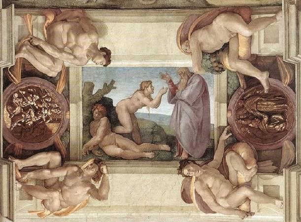 西斯汀教堂《創世紀》「夏娃的誕生」。圖/取自ibtimes。
