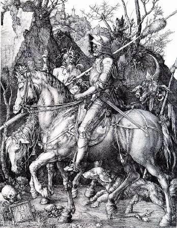 《騎士、死神與惡魔》, Albrecht Duerer, Image from http://www.youhuaaa.com/page/user/show-painting-album-list.php?userid=9314&id=713